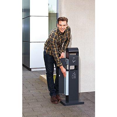 Combiné cendrier-poubelle - capacité poubelle 8 l, capacité cendrier 2 l - h x l x p 1000 x 200 x 150 mm