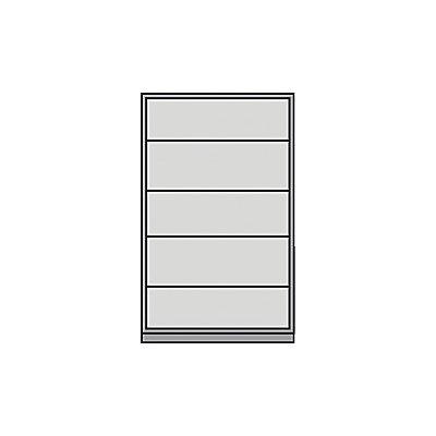 Mauser Schiebetürschrank - mit Glasfront, 4 Fachböden - HxBxT 1950 x 1200 x 500 mm, lichtgrau / lichtblau