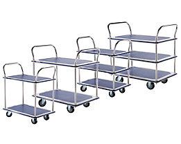 Chariots à plateaux, chromés - 2 tablettes avec revêtement antidérapant, 2 barres de poussée