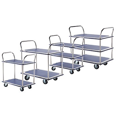 Tischwagen verchromt - 2 Ladeflächen mit Antirutschbelag, 2 Schiebebügel