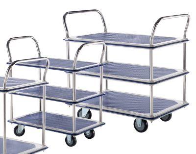 Tischwagen verchromt - 3 Ladeflächen mit Antirutschbelag, 2 Schiebebügel