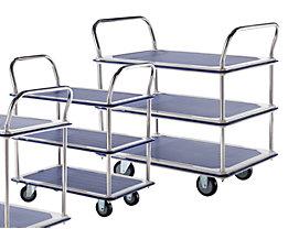 Chariots à plateaux, chromés - 3 tablettes avec revêtement antidérapant, 2 barres de poussée