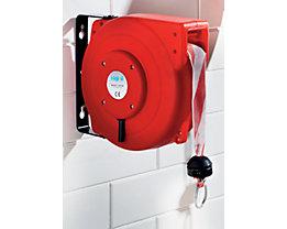 Absperraufroller, automatisch - mit Banderole rot / weiß