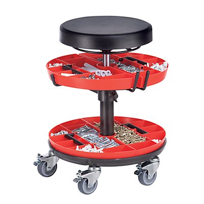Arbeitshocker mit 2 Werkzeugablagen - Gasfeder-Höhenverstellung - mit PU-Schaum-Sitz