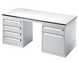 EUROKRAFT Arbeitsplatzsystem für industrielles Umfeld - Tisch mit 2 Standschränken
