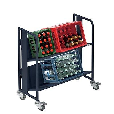 QUIPO Getränkewagen - 2 Etagen, Tragfähigkeit je Etage 40 kg - anthrazit