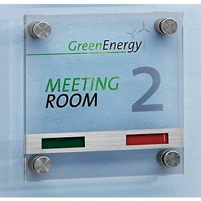 Moedel Türschild - mit Anzeige, aus ESG-Sicherheitsglas - BxH 150 x 150 mm