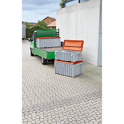 CEMO Malle universelle en polyéthylène - capacité 250 l, charge max. 200 kg - gris / orange