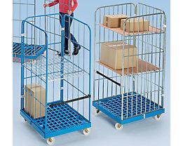 Rollbehälter mit Gitterwänden - Kunststoff-Rollplatte, 3-seitig