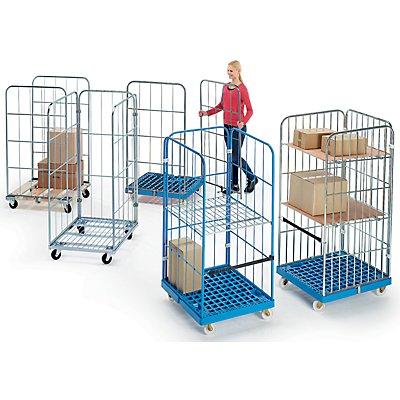 Rollbehälter mit Gitterwänden - Holz-Rollplatte, 3-seitig