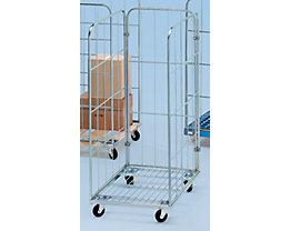 Rollbehälter mit Gitterwänden - Stahl-Rollplatte, 3-seitig