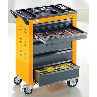 QUIPO Werkzeugwagen - 6 Schubladen mit Einzelarretierung - HxBxT 930 x 630 x 410 mm, blau
