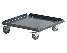 Rolluntersatz aus Stahlblech - grau - 4 Lenkrollen, 2 mit Feststellern