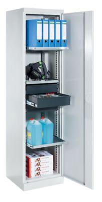 QUIPO Materialschrank - Breite 500 mm, 3 Ausziehböden, 3 Schubladen