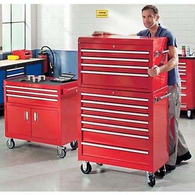Werkzeugwagen JUMBO - 7 Schubladen, 2 Seitenflügel einklappbar - HxBxT 1028 x 890 x 530 mm