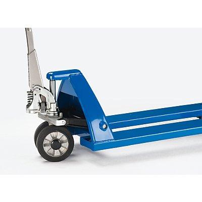 EUROKRAFT Paletthubwagen mit QuickLift - Lenkräder Vollgummi, Lastrollen Polyurethan