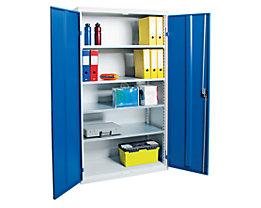 Armoire à portes battantes - avec portes en tôle pleine, 4 tablettes