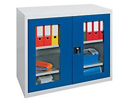 Armoire à portes battantes - avec portes vitrées, 2 tablettes