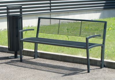 Sitzbank aus Stahl - in Grauguss-Optik - LxBxH 1500 x 555 x 780 mm