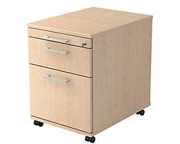 office akktiv Rollcontainer - 1 Utensilienschub, 1 Materialschub, 1 Hängeregistratur, Tiefe 580 mm