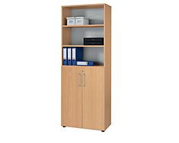 office akktiv RENATUS Armoire et rayonnage de bureau combinés - 5 tablettes, 6 hauteurs de classeurs, dont 3 ouvertes