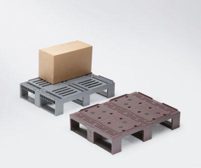 Kunststoff-Halbpalette - rot/schwarz