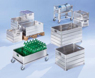ZARGES Transportkorb aus Aluminium - Inhalt 52 l - mit eingesetzten Aluminiumguss-Stapelecken