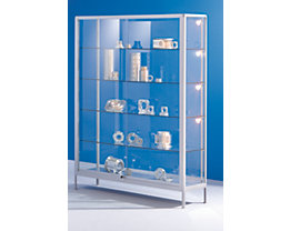 office akktiv Standvitrine - mit Glastüren - Breite 1500 mm, 2 Schiebetüren, schwer entflammbar