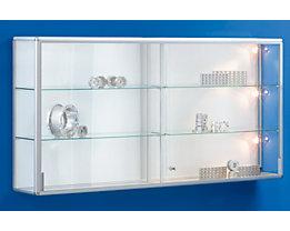 office akktiv Wandvitrine - mit Schiebetüren - Breite 2020 mm, 2 Schiebetüren, schwer entflammbar