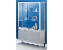 office akktiv Staufachvitrine - mit Unterschrank - Breite 1500 mm, 2 Schiebetüren, schwer entflammbar