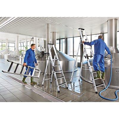 Günzburger Steigtechnik Stufen-Stehleiter - beidseitig begehbar, rutschhemmend, belastbar