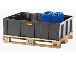 CEMO PE-Auffangwanne für 200-l-Fässer, Tragfähigkeit 600 kg - mit Wanne, mit verzinktem Stahlgitter