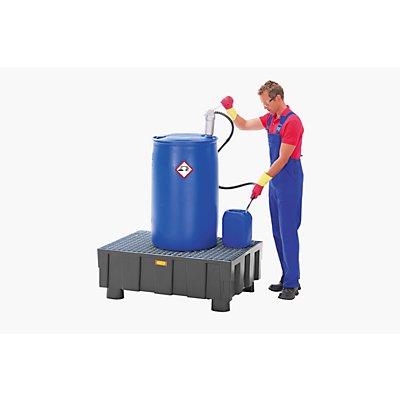 CEMO PE-Auffangwanne für 200-l-Fässer, Tragfähigkeit 600 kg - mit vier Füßen