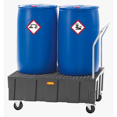 CEMO PE-Auffangwanne für 200-l-Fässer, Tragfähigkeit 600 kg - fahrbar mit Schiebebügel