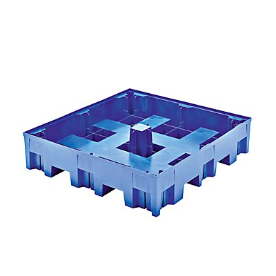 Asecos PE-Auffangwanne für 200-l-Fässer, Tragfähigkeit 950 kg/m² - LxBxH 1220 x 1230 x 220 mm