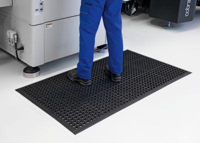 Bodenmatte, gelocht - LxBxH 1500 x 900 x 14 mm - Gummi schwarz