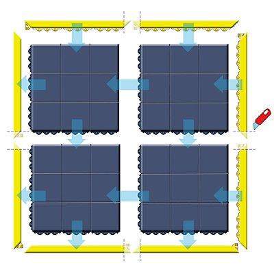 Système emboîtable en caillebotis - L x l x h 910 x 910 x 19 mm - caoutchouc noir