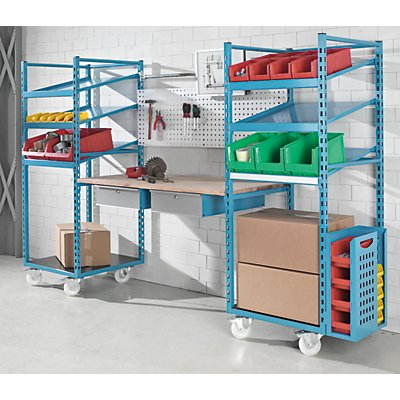 EUROKRAFT Regal-Arbeitsplatz-Kombination - mobil, HxBxT 1845 x 3115 x 700 mm