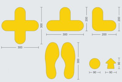 PVC-Bodenmarkierungen - Typ Kreuz, VE 50 Stk, LxB 300 x 300 mm