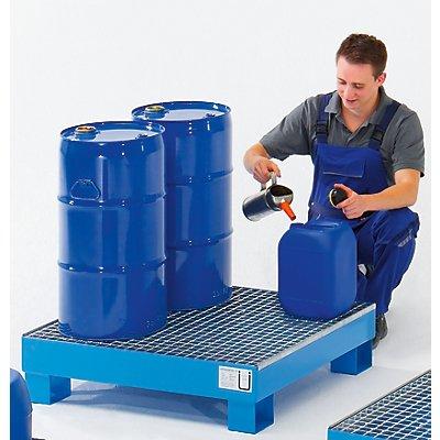 Auffangwanne für 60 l - LxBxH 800 x 900 x 220 mm, mit Zulassung