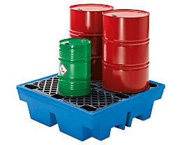 PE-Auffangwanne mit PE-Rost - 4 x 200-Liter-Fässer
