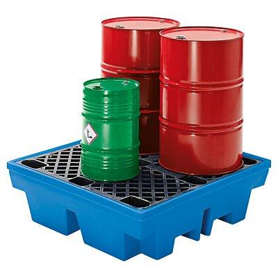 Cuve de rétention en PE avec caillebotis en PE - 4 fûts de 200 litres - capacité 410 l