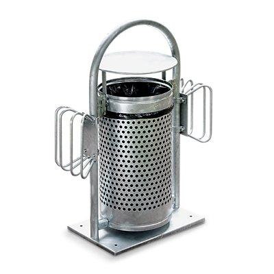Außen-Abfallsammler - Inhalt 65 l, mit Rohrbogen und Dach - feuerverzinkt