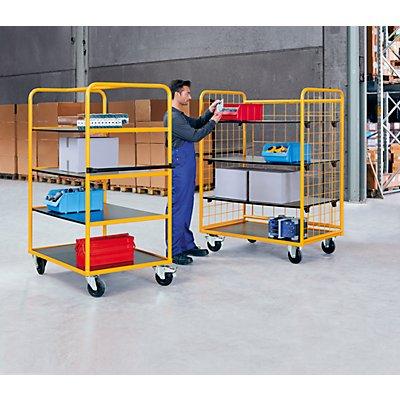QUIPO Regal- und Etagenwagen - 3 Etagenböden und 3 Gitterwände