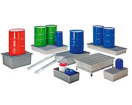 CEMO Boden-Auffangwanne - 1 x 200-Liter-Fass, ohne Zulassung - mit GFK-Gitterrost