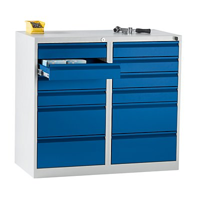 QUIPO Schubladenschrank, Stahl - HxBxT 900 x 1000 x 500 mm, 12 Schubladen