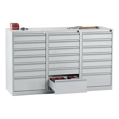 QUIPO Schubladenschrank, Stahl - HxBxT 900 x 1500 x 500 mm, 21 Schubladen