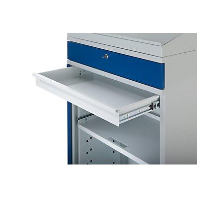 EUROKRAFT Computer-Arbeitsstation, Stahlblech - HxB 1770 x 650 mm, ohne Monitorgehäuse, Türfarbe lichtblau