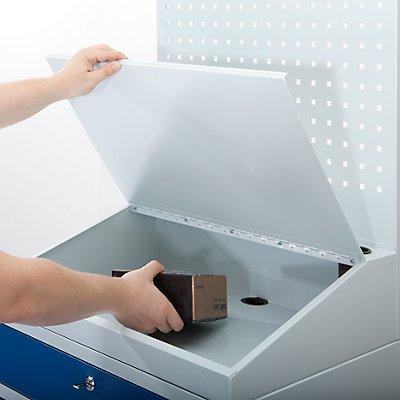 EUROKRAFT Computer-Arbeitsstation, Stahlblech - HxB 1770 x 1100 mm, mit Monitorgehäuse, Lochwand, Pultaufsatz, Türfarbe lichtblau
