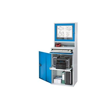 EUROKRAFT Computer-Arbeitsstation, Stahlblech - HxB 1770 x 650 mm, mit Monitorgehäuse